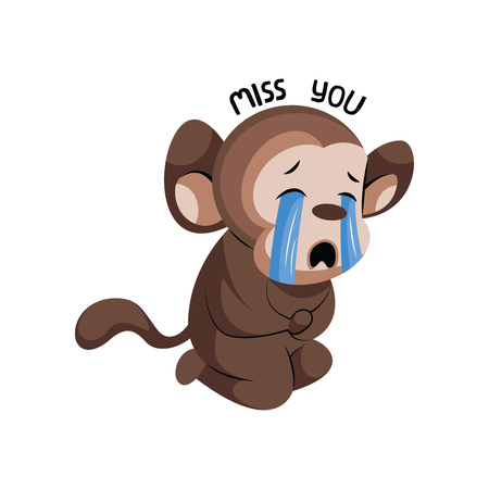 Crying cute monkey saying Miss you vector illustration on a white background