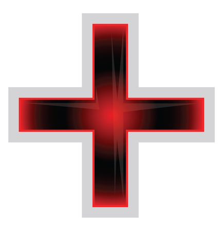 Red and black Greek Cross vector illustration on a white background