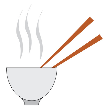 Delicious hot soup with two brown spoons in a white bowl made out of clay is ready to be served vector color drawing or illustration Ilustracja