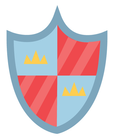 Cartoon heater shield in blue and red color that displays the coat of arms of a particular country vector color drawing or illustration