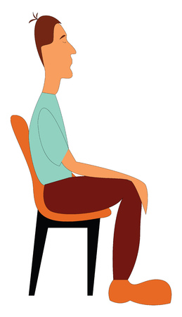 The side view of a boy in a green shirt and a black colored matching pant is relaxing in a chair with his eyes closed while sitting and has a funny hairstyle vector color drawing or illustration