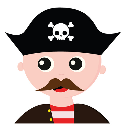 A handsome looking pirate dressed in a brown coat with yellow buttons over his red shirt with white longitudinal stripes has a long mustache and wears a blue cap that bears the head of a skeleton with