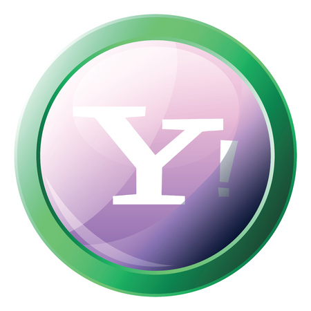 Yahoo platform logo inside a green circle vector icon illustration on a white background