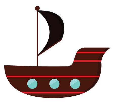 Clipart of a pirates ship in brown and red stripes sails as a black flag hoisted vector color drawing or illustration