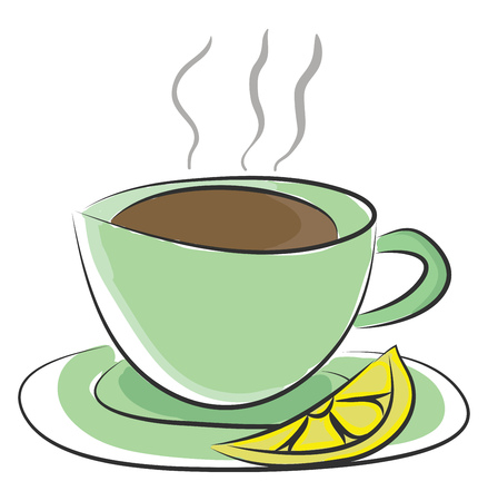 Green-colored cup and saucer with hot tea and a lemon slice is ready to be enjoyed by someone vector color drawing or illustration