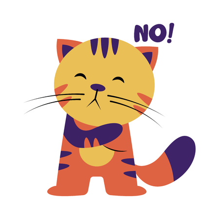 Colorful cat saying No vector illustration on a white background