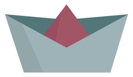 Cartoon multi-colored paper boat in shades of blue and maroon colors is ready to sail in the rainwater by some child or children vector color drawing or illustration Illusztráció