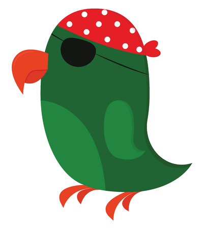 Clipart of a green pirates parrot with a big curved orange bill and feet wears an orange turban printed with white polka design and a patch in one of its eyes vector color drawing or illustration
