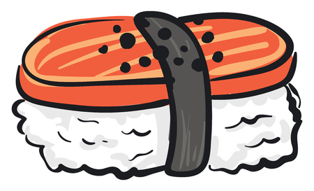 Clipart of multi-colored sushi in orange white and grey is a famous Japanese dish made from seasoned rice with fish egg or vegetables vector color drawing or illustration