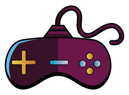 Purple joystick illustration vector on white background