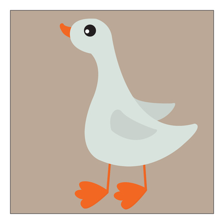 A white-colored cartoon duck with an orange-colored beak and webfoot stands while looking for prey vector color drawing or illustration