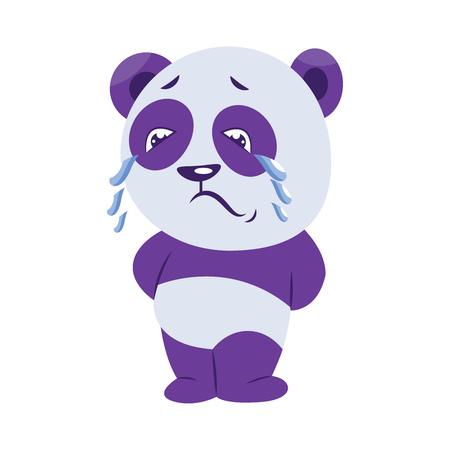 Sad purple and white panda crying vector illustration on a white background Standard-Bild - 120987697