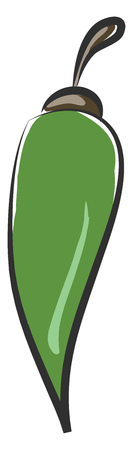 Cartoon green pepper with an exclamation mark and a grey-colored stalk vector color drawing or illustration