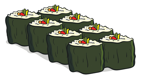 Clipart of eight sushi famous Japanese dish made from seasoned rice with vegetables arranged in two rows four in each vector color drawing or illustration Illustration