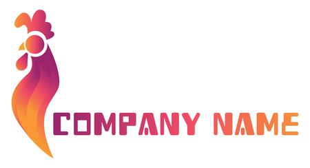 Coloful Logovektorillustration eines Hahns und des leeren Textes für Firmennamen Logo