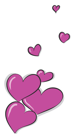 Beautiful pink colored hearts of different shapes blown from below flies up to reach the sky vector color drawing or illustration