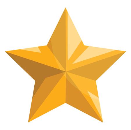 Gold christmas star vector illustration on a white background Çizim