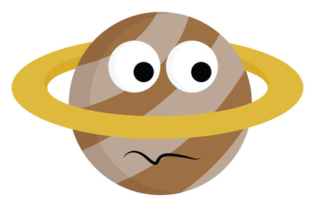 The planet Saturn brown in color has two big bulging eyes inscribed in a yellow colored planetary orbit looks dismayed vector color drawing or illustration Illustration