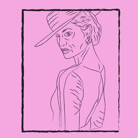 Line art of a woman wearing a stylish hat faced to her left wears flower-shaped earrings enclosed in a black rectangular frame vector color drawing or illustration