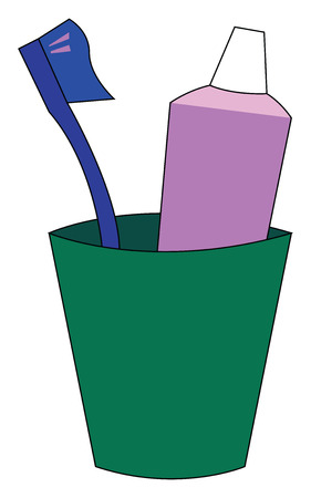 A green-colored plastic toothbrush holder in the shape of a tumbler with a blue toothbrush and a rose toothpaste vector color drawing or illustration Stock fotó - 123413619