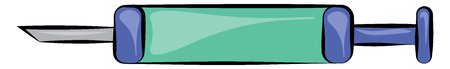 Clipart of a blue colored syringe needle with the measurement ready to be injected to a person for his improvement in health conditions vector color drawing or illustration