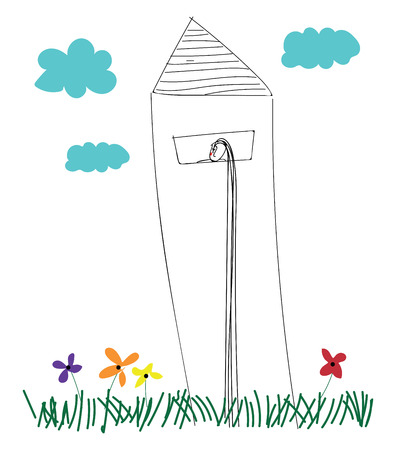 Line art of a lighthouse erected above the grasslands with multi-colored flowers on a cloudy day vector color drawing or illustration