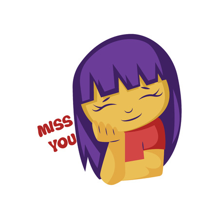 Girl with purple hair next to Miss you text vector illustration on a white background