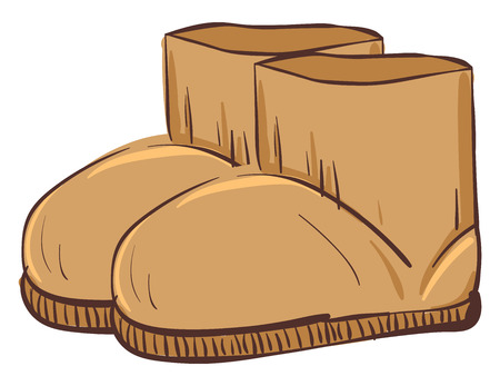 A pair of brown-colored cartoon UGG winter boots ready to be worn by someone during cold weather vector color drawing or illustration