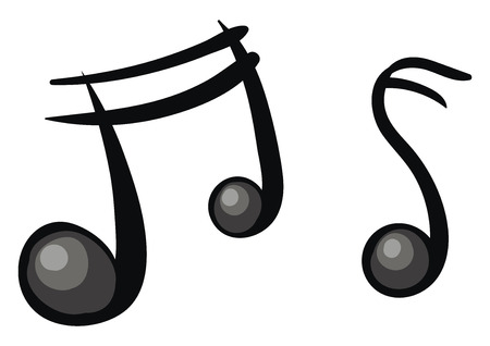 Two cartoon musical notes in black color that usually represent modern musical notation vector color drawing or illustration Banco de Imagens - 123413648