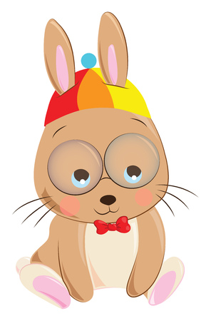 Cartoon of a brown rabbit with a colorful hat with two bulging eyes and a red bow in its dress express sadness vector color drawing or illustration Vettoriali