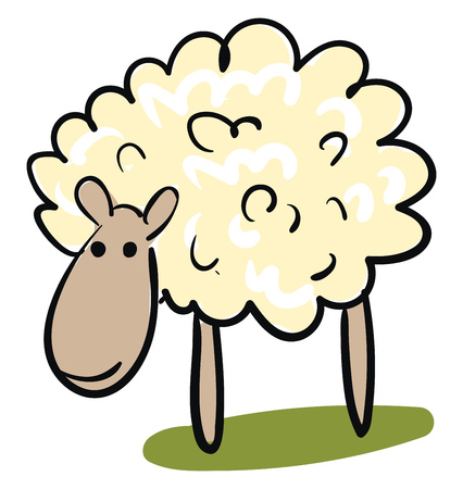 Cartoon of a cute little orange-colored ram animal grazing in green grasslands looks happy vector color drawing or illustration