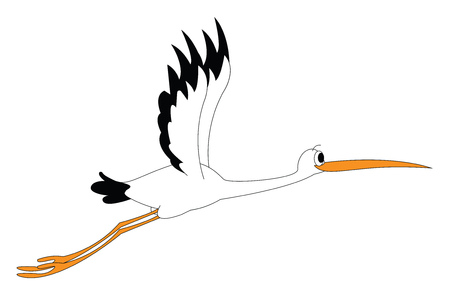 Clipart of a stock bird at flight in black and white color has a long and slender orange bill and feet with a bulging eye vector color drawing or illustration Illustration