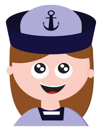 Cartoon character of a laughing sailor girl dressed in her blue uniform wears a sailor cap an inscribed black silk ribbon tied around its base that bears the symbol of a navy vector color drawing or illustration Ilustração