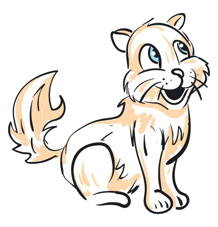An orange sketch of a laughing cat with a furry tail while in sitting position vector color drawing or illustration