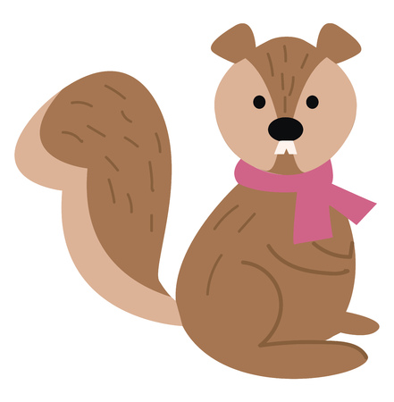 A cute little cartoon squirrel in shades of brown color is wearing a rose-colored scarf around its neck and has two white teeth protruded outside gives a strange look while in a seated position vector color drawing or illustration  Ilustração