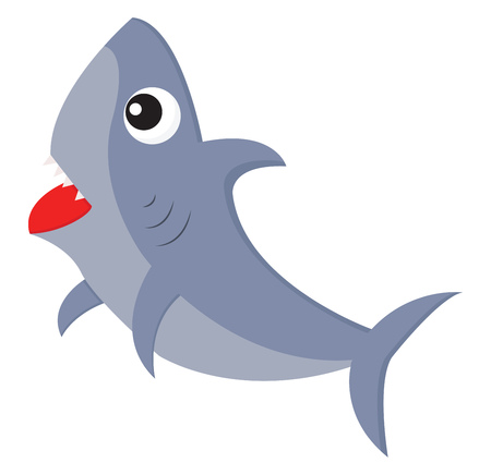 A ferocious blue-colored cartoon shark with its spiky teeth exposed is swimming towards the surface of the ocean vector color drawing or illustration