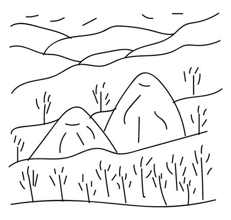 Strichzeichnungen von Bäumen und Bergen in Schwarz-Weiß-Farben, Vektorgrafik oder Illustration Vektorgrafik
