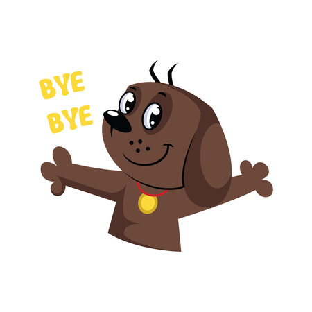 Brown dog saying Bye Bye vector illustration on a white background