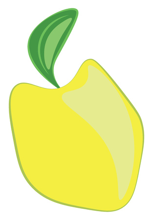 Cartoon of a yellow quince edible fruit with a fresh green leaf and eaten raw or cooked vector color drawing or illustration