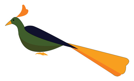 A cute little multi-colored elegant peacock in sitting posture has a heart-shaped orange-colored horn vector color drawing or illustration