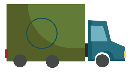 The side view of a blue and green colored truck designed to carry goods from one place to another vector color drawing or illustration Çizim