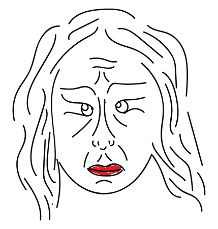 A line art portrait of a sad old woman with wrinkles all over her face eyeballs in different positions and her big lips painted in red vector color drawing or illustration