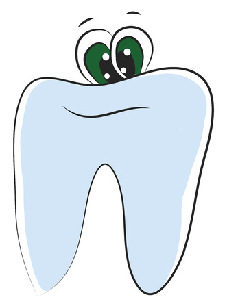 Toothpaste with two green-colored eyes gives a plain smile vector color drawing or illustration
