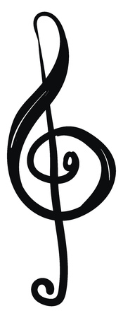 A clef placing G above middle C on the second-lowest line of the stave in black ink vector color drawing or illustration Illusztráció