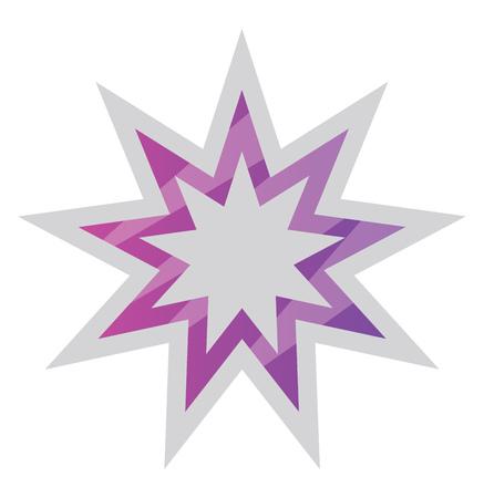 White and purple Bahai star symbol vector illustration on a white background Illustration