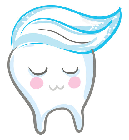 Toothpaste applied on a smiling tooth is ready to be brushed vector color drawing or illustration Ilustração