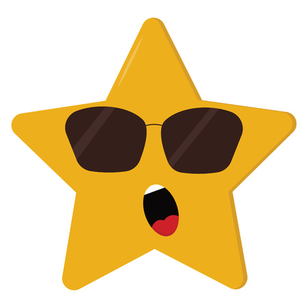 A five-pointed cartoon yellow star wears sunglasses expose white teeth and tongue while dismayed vector color drawing or illustration