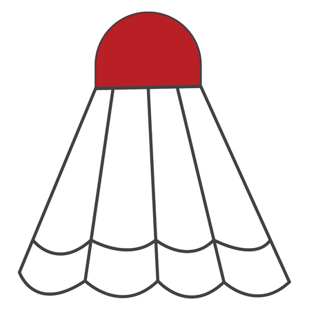 A cork to which white-colored feathers are attached to form a cone shape with a red cap usually struck with rackets in the games of badminton and battledore vector color drawing or illustration Reklamní fotografie - 123413693