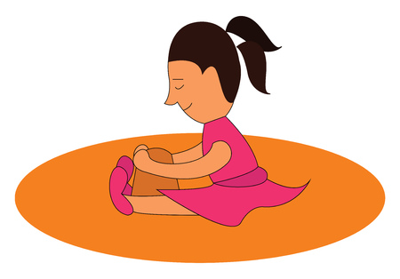 Clipart of a cute little kid in a high ponytail pink gown and shoes sits and enjoys building a castle as she sits along the beach vector color drawing or illustration Illustration