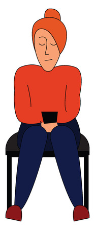 A girl sitting in a chair has closed her eyes and is relaxing She is dressed in brown top and blue pant and also wears a woollen turban hat on her head vector color drawing or illustration